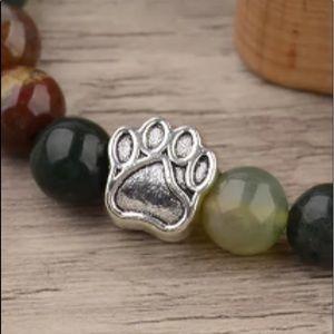 Jewelry - 8mm Natural Stone Paw Print Bracelet